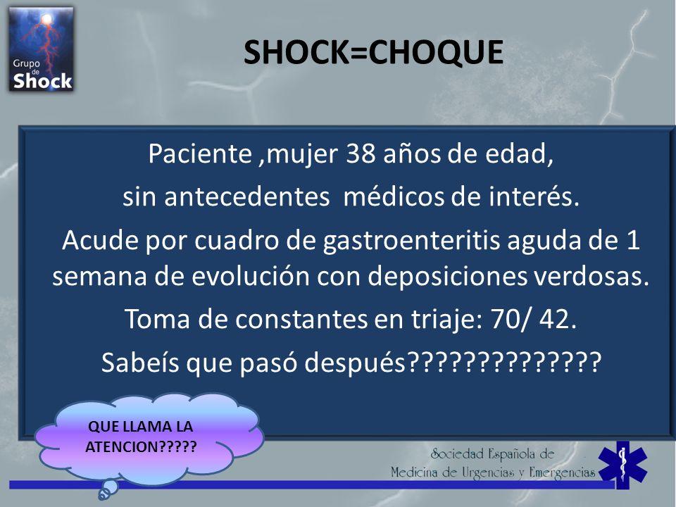 SHOCK=CHOQUE Paciente ,mujer 38 años de edad,