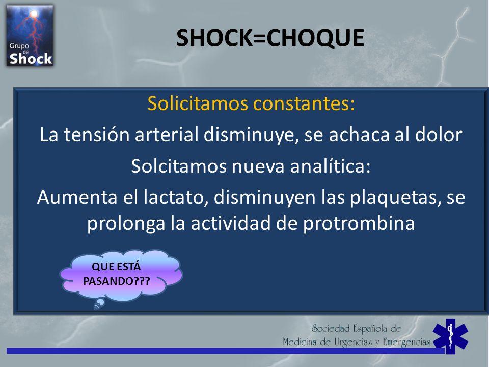 SHOCK=CHOQUE Solicitamos constantes: