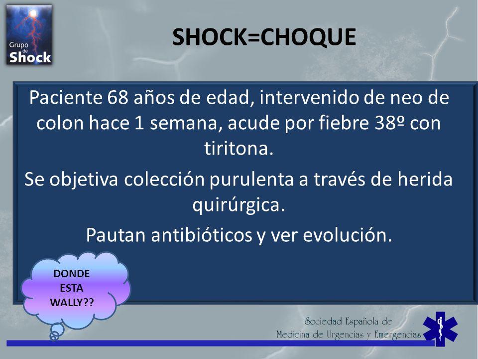 SHOCK=CHOQUE Paciente 68 años de edad, intervenido de neo de colon hace 1 semana, acude por fiebre 38º con tiritona.