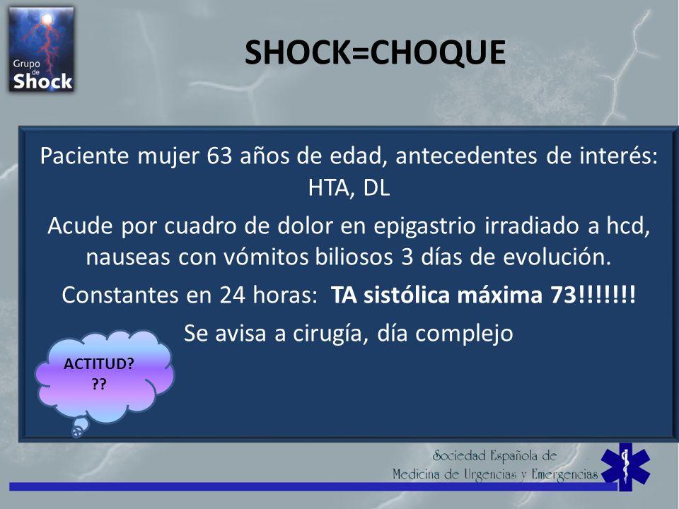 SHOCK=CHOQUE Paciente mujer 63 años de edad, antecedentes de interés: HTA, DL.