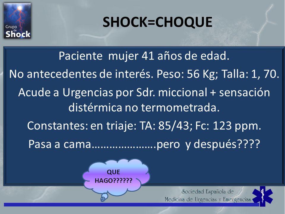 SHOCK=CHOQUE Paciente mujer 41 años de edad.