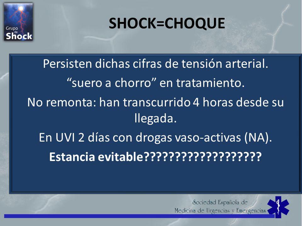 SHOCK=CHOQUE Persisten dichas cifras de tensión arterial.