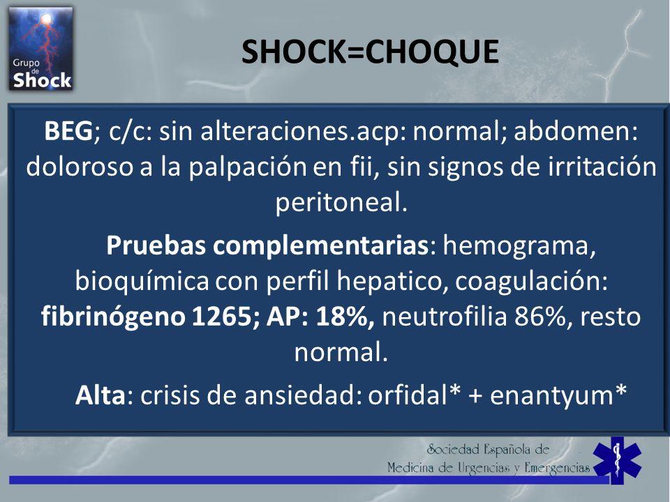 Alta: crisis de ansiedad: orfidal* + enantyum*