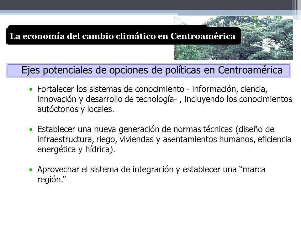 Ejes potenciales de opciones de políticas en Centroamérica