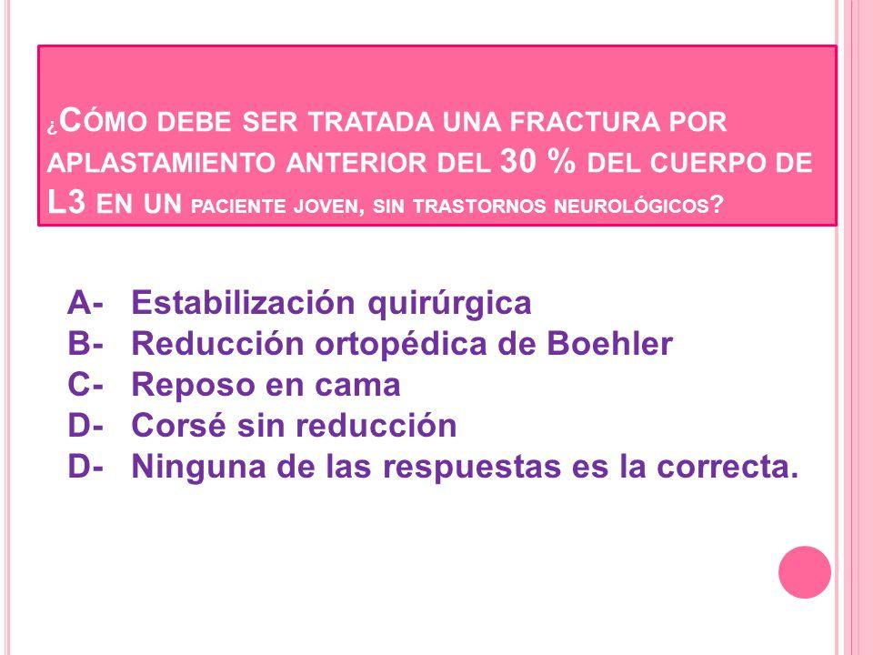 ¿Cómo debe ser tratada una fractura por aplastamiento anterior del 30 % del cuerpo de L3 en un paciente joven, sin trastornos neurológicos