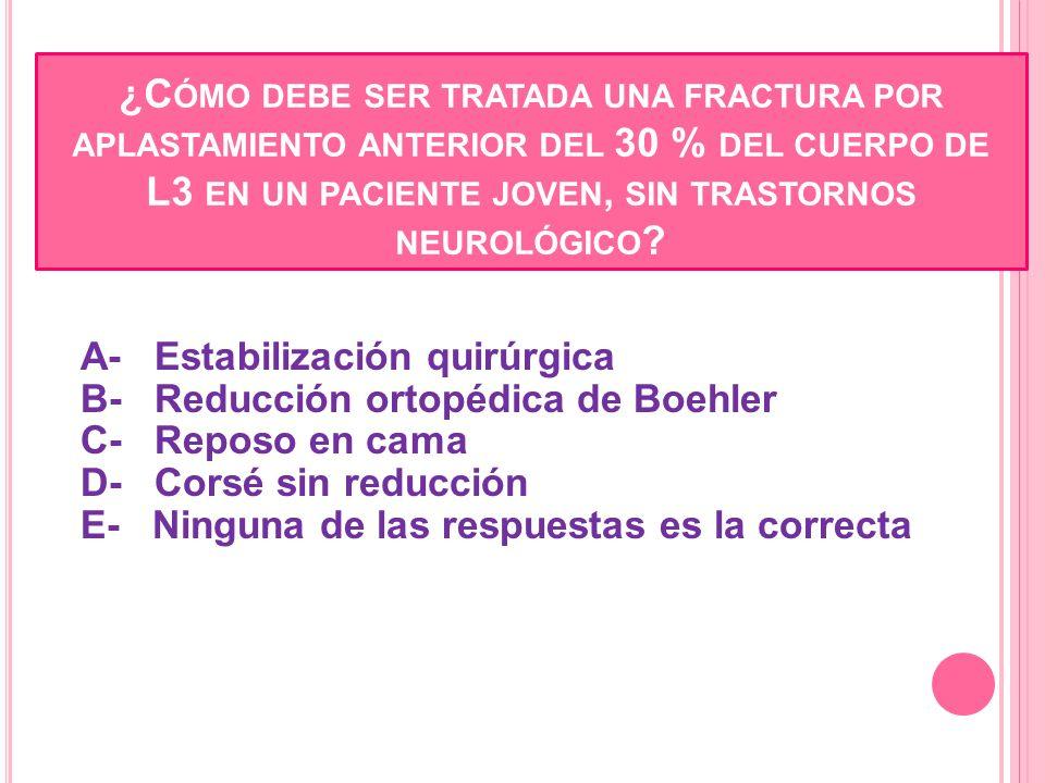 ¿Cómo debe ser tratada una fractura por aplastamiento anterior del 30 % del cuerpo de L3 en un paciente joven, sin trastornos neurológico