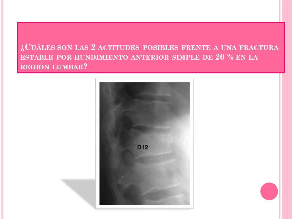 ¿Cuáles son las 2 actitudes posibles frente a una fractura estable por hundimiento anterior simple de 20 % en la región lumbar