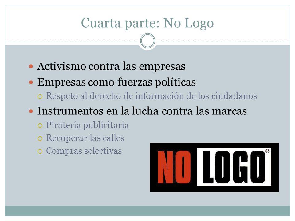 Cuarta parte: No Logo Activismo contra las empresas
