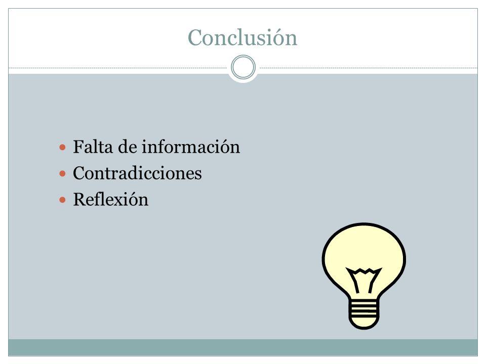 Conclusión Falta de información Contradicciones Reflexión