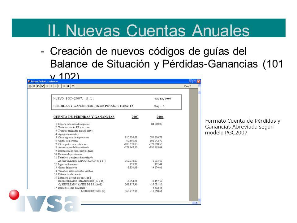 II. Nuevas Cuentas Anuales