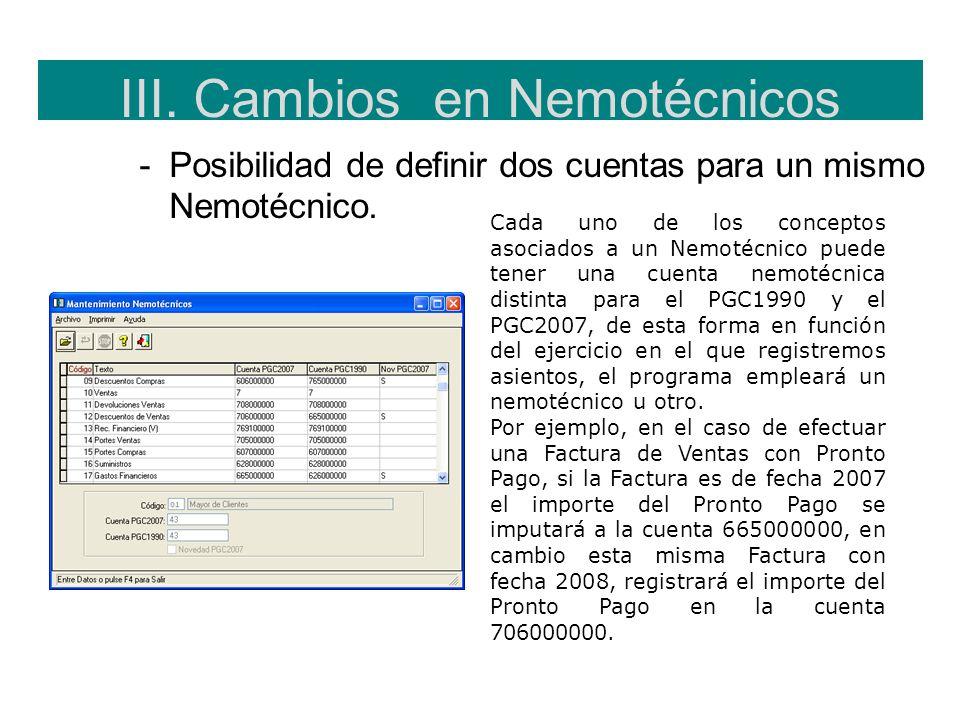 III. Cambios en Nemotécnicos