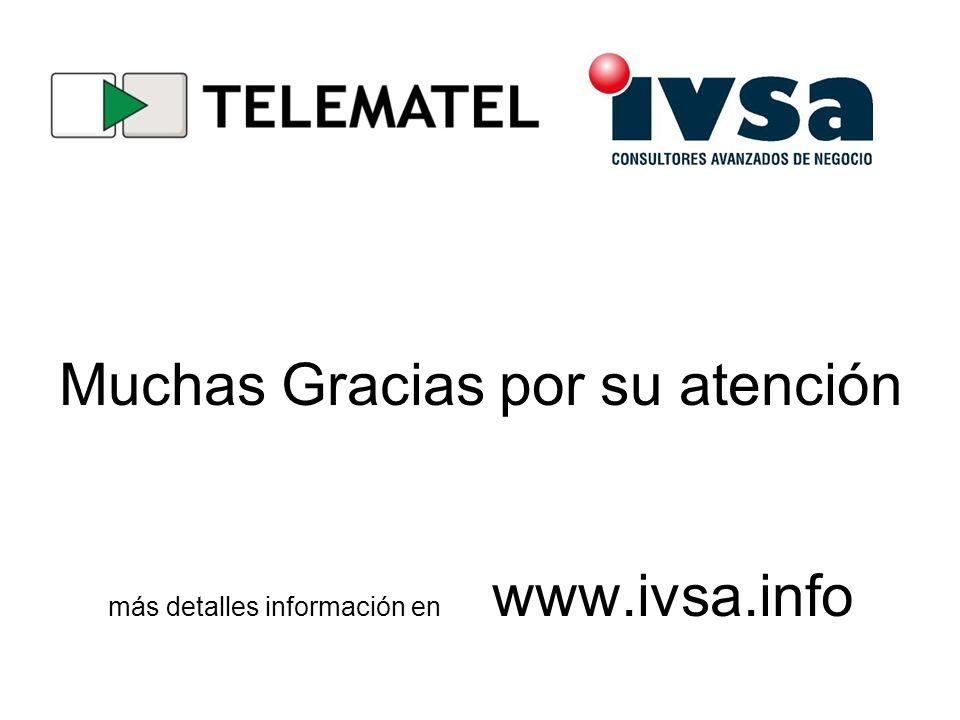 Muchas Gracias por su atención más detalles información en. www. ivsa