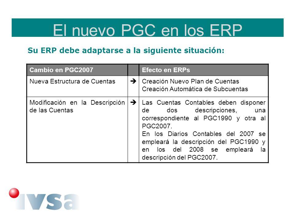 El nuevo PGC en los ERP Su ERP debe adaptarse a la siguiente situación: Cambio en PGC2007. Efecto en ERPs.