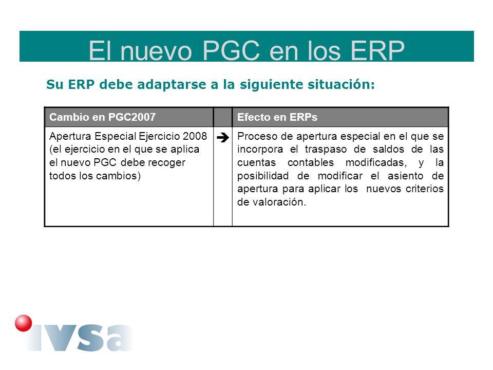 El nuevo PGC en los ERPSu ERP debe adaptarse a la siguiente situación: Cambio en PGC2007. Efecto en ERPs.