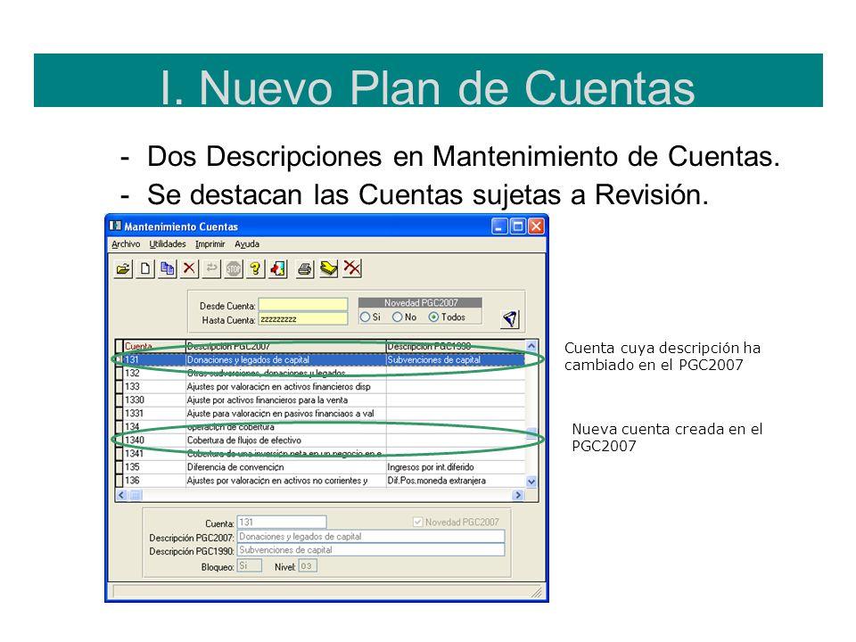 I. Nuevo Plan de CuentasDos Descripciones en Mantenimiento de Cuentas. Se destacan las Cuentas sujetas a Revisión.