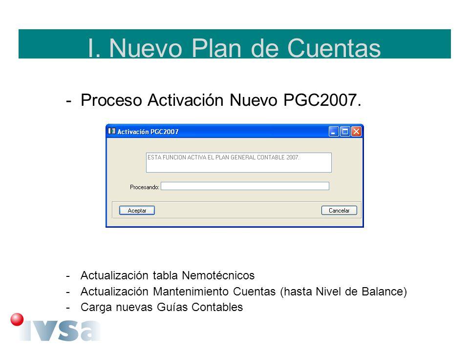 I. Nuevo Plan de Cuentas Proceso Activación Nuevo PGC2007.