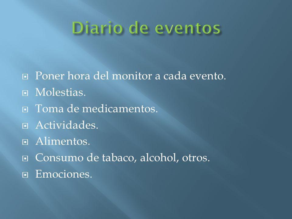Diario de eventos Poner hora del monitor a cada evento. Molestias.