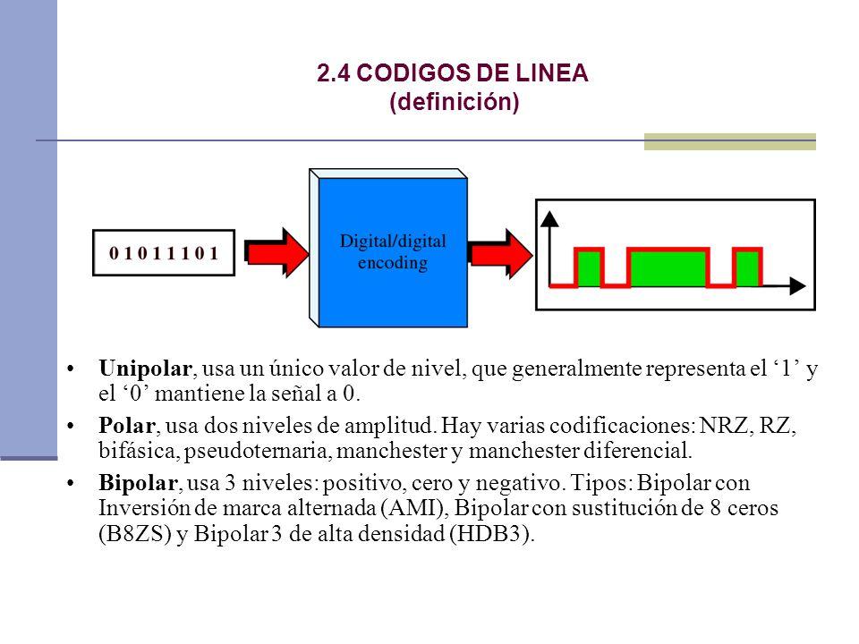 2.4 CODIGOS DE LINEA(definición) Unipolar, usa un único valor de nivel, que generalmente representa el '1' y el '0' mantiene la señal a 0.
