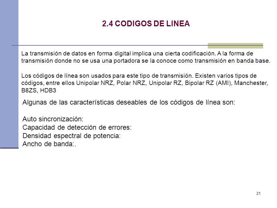 2.4 CODIGOS DE LINEA
