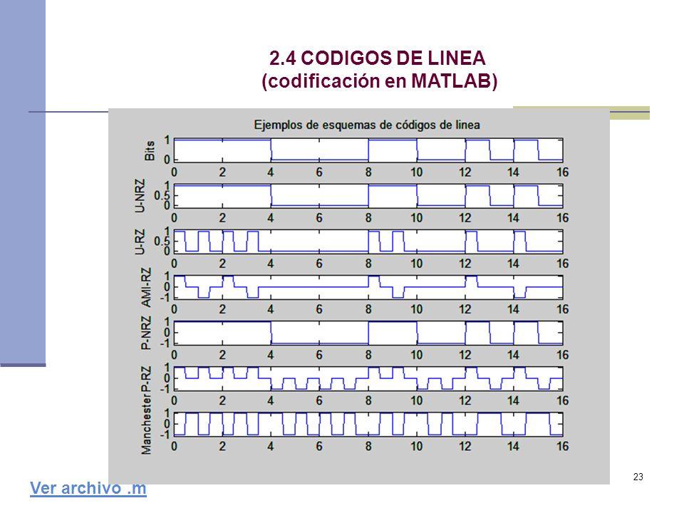 (codificación en MATLAB)
