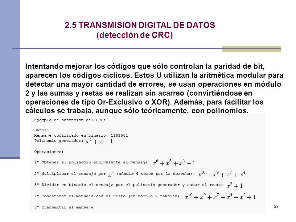 2.5 TRANSMISION DIGITAL DE DATOS (detección de CRC)