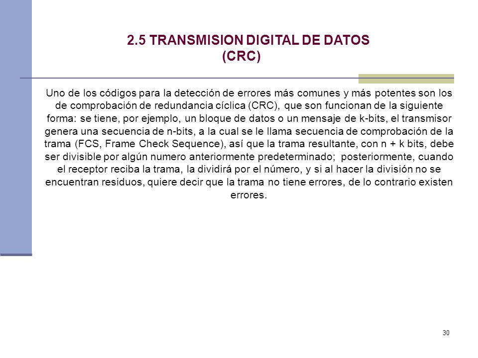 2.5 TRANSMISION DIGITAL DE DATOS (CRC)