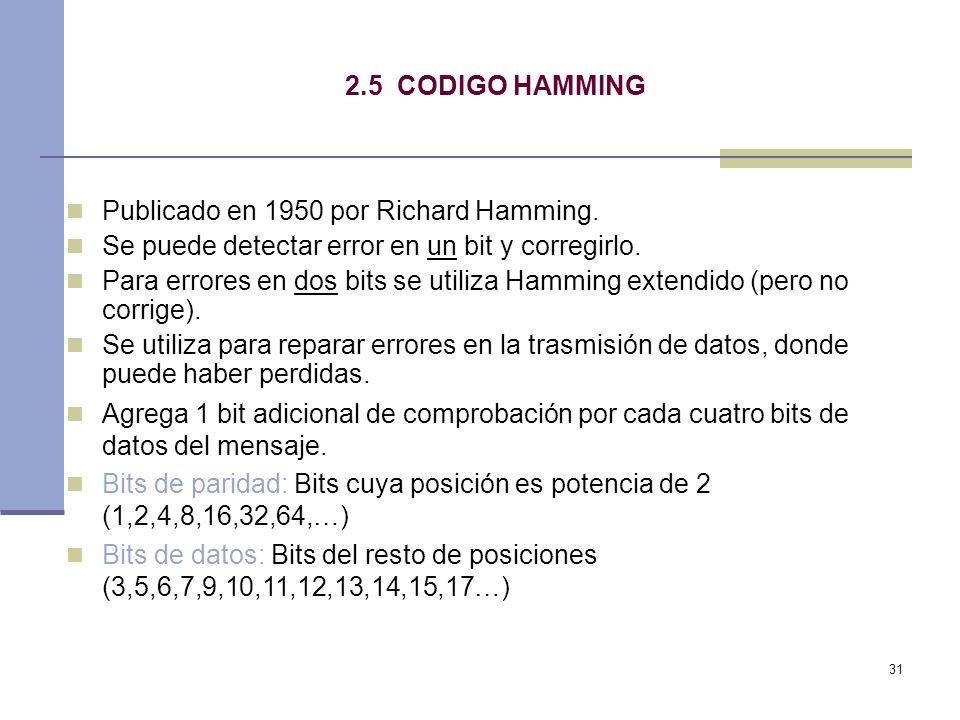 2.5 CODIGO HAMMING Publicado en 1950 por Richard Hamming. Se puede detectar error en un bit y corregirlo.