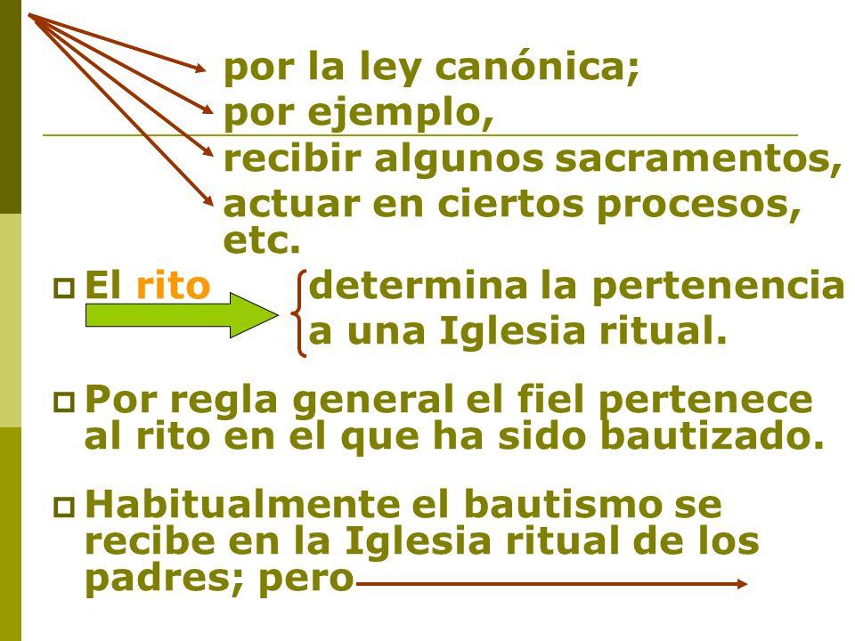 por la ley canónica;por ejemplo, recibir algunos sacramentos, actuar en ciertos procesos, etc. El rito determina la pertenencia.
