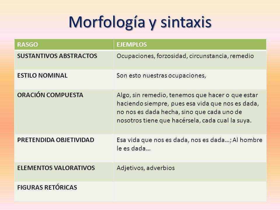 Morfología y sintaxis RASGO EJEMPLOS SUSTANTIVOS ABSTRACTOS
