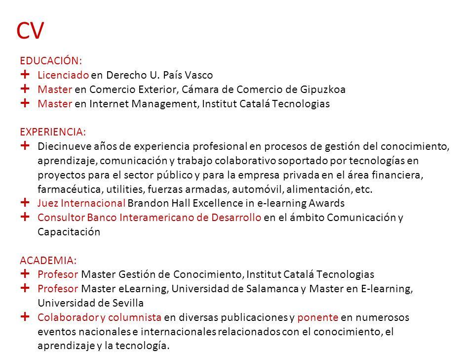 CV EDUCACIÓN: Licenciado en Derecho U. País Vasco