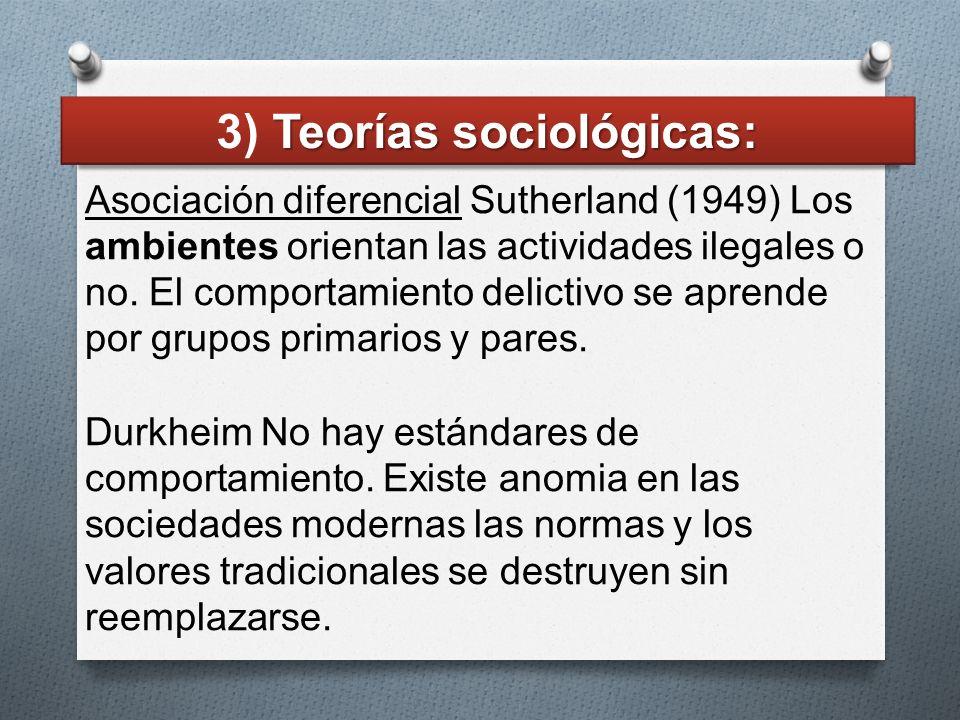 3) Teorías sociológicas: