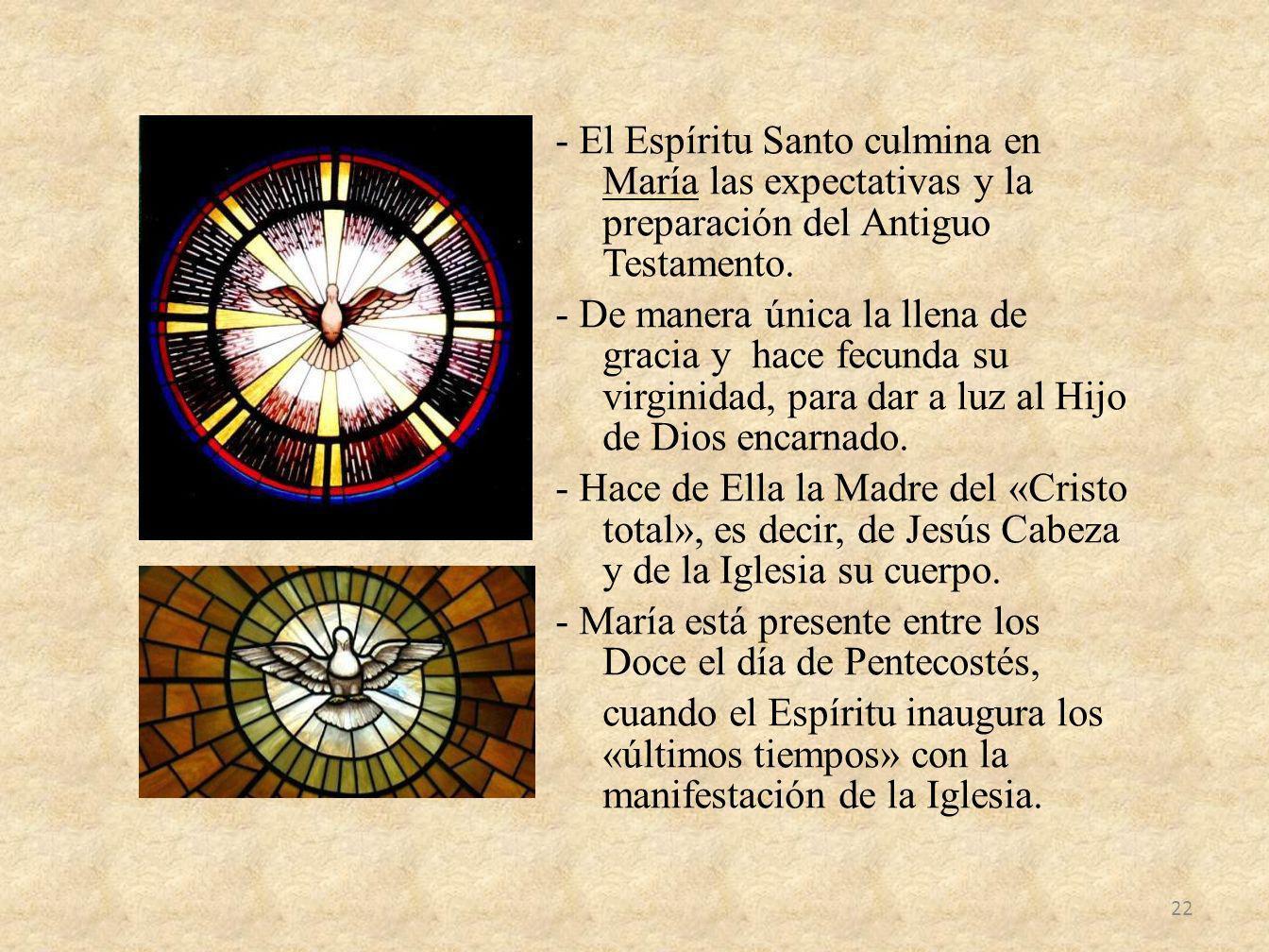 - El Espíritu Santo culmina en María las expectativas y la preparación del Antiguo Testamento.
