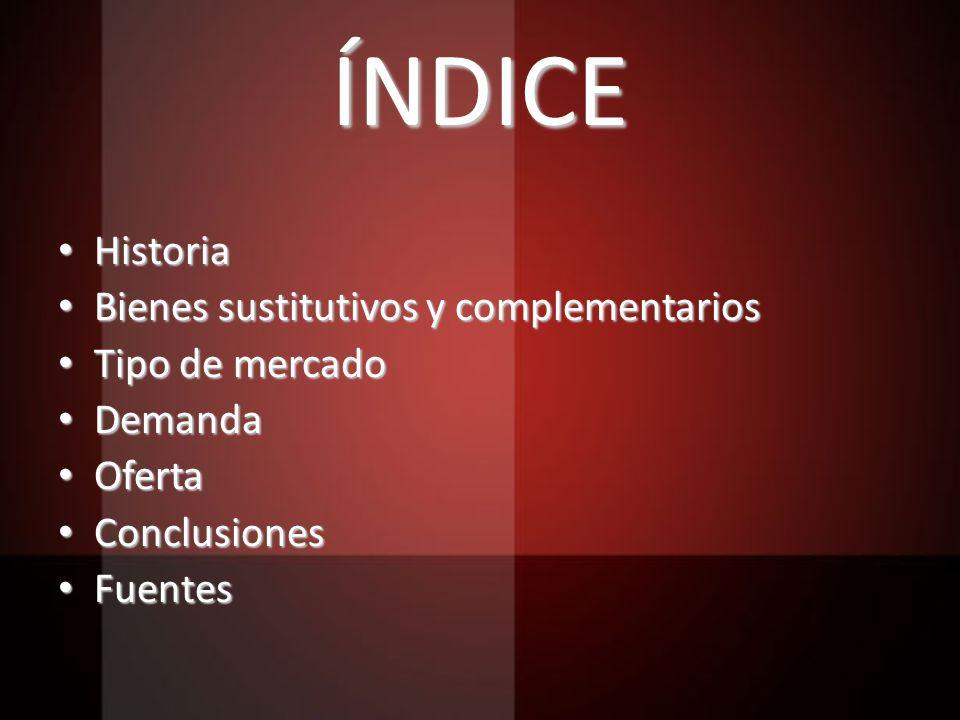 ÍNDICE Historia Bienes sustitutivos y complementarios Tipo de mercado