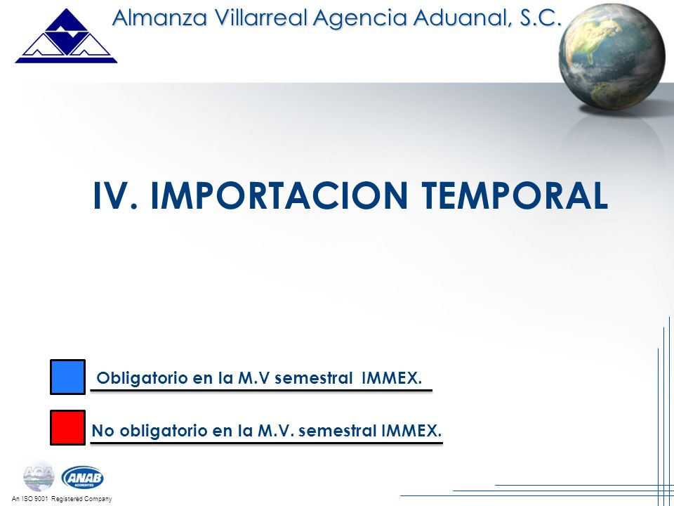 IV. IMPORTACION TEMPORAL