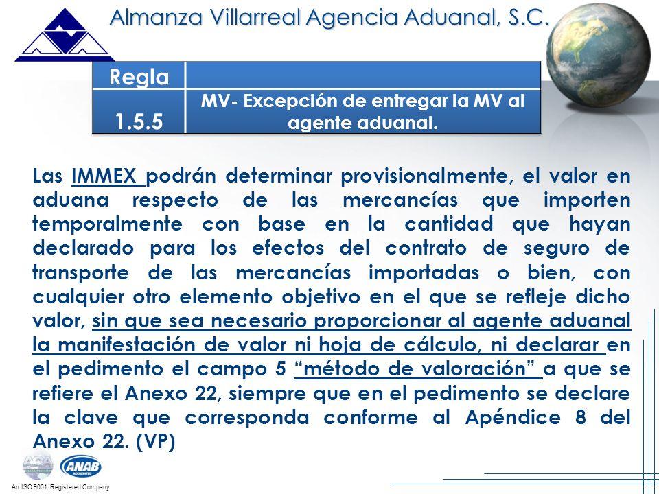 MV- Excepción de entregar la MV al agente aduanal.