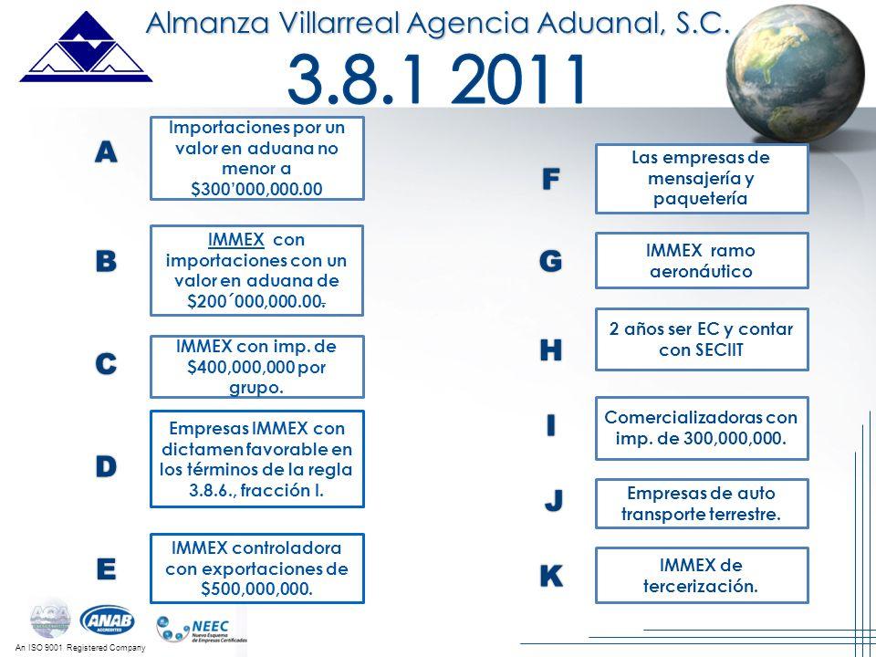 3.8.1 2011 Almanza Villarreal Agencia Aduanal, S.C. A F B G H C I D J