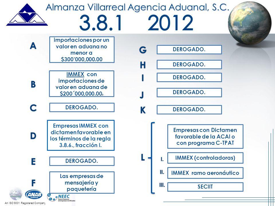 3.8.1 2012 Almanza Villarreal Agencia Aduanal, S.C. A G H I B J C K D