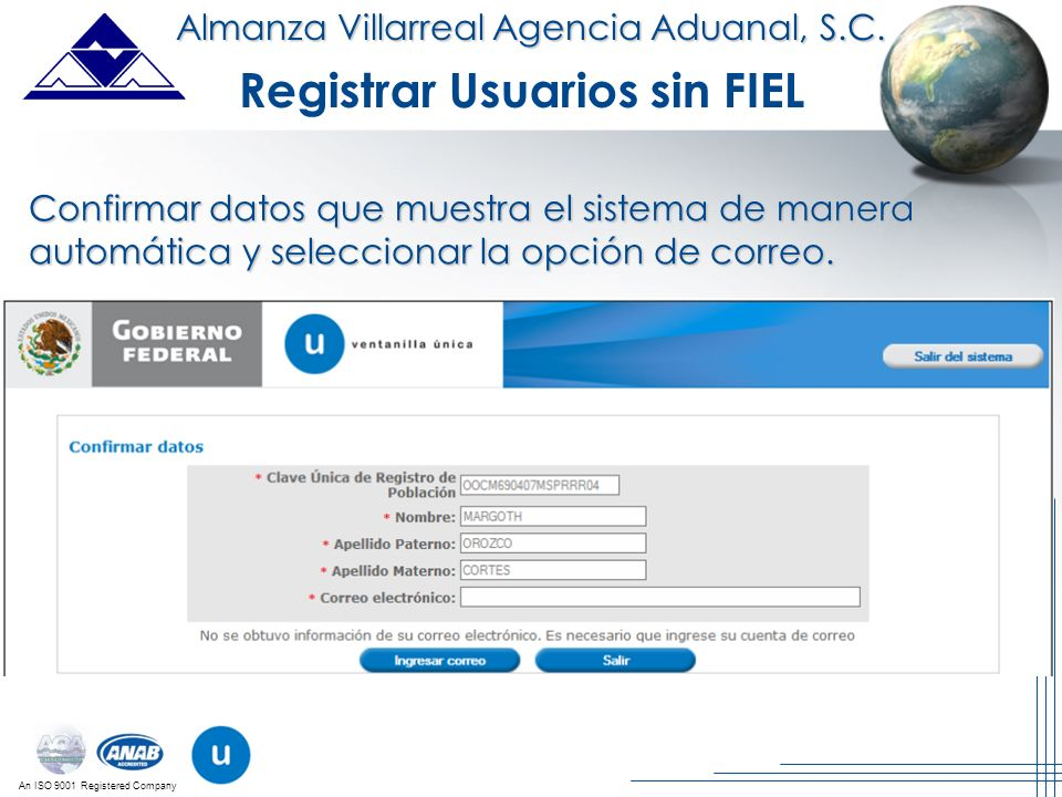 Registrar Usuarios sin FIEL