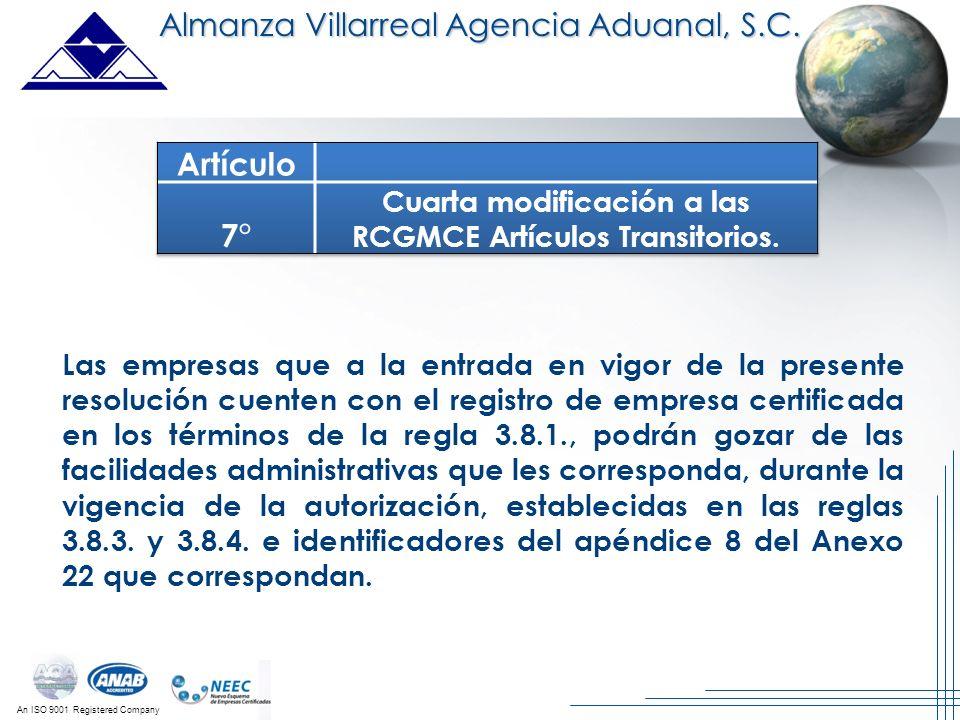 Cuarta modificación a las RCGMCE Artículos Transitorios.