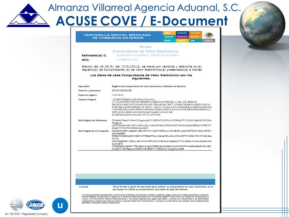 ACUSE COVE / E-Document