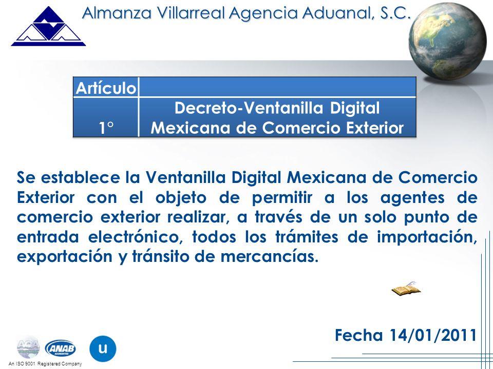 Decreto-Ventanilla Digital Mexicana de Comercio Exterior