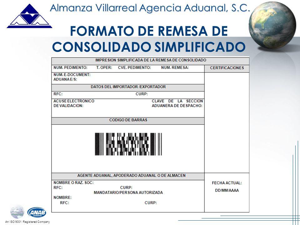 FORMATO DE REMESA DE CONSOLIDADO SIMPLIFICADO