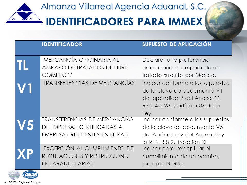 IDENTIFICADORES PARA IMMEX