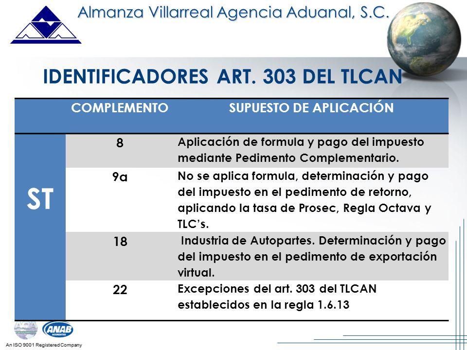 IDENTIFICADORES ART. 303 DEL TLCAN SUPUESTO DE APLICACIÓN