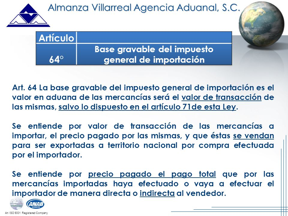 Base gravable del impuesto general de importación