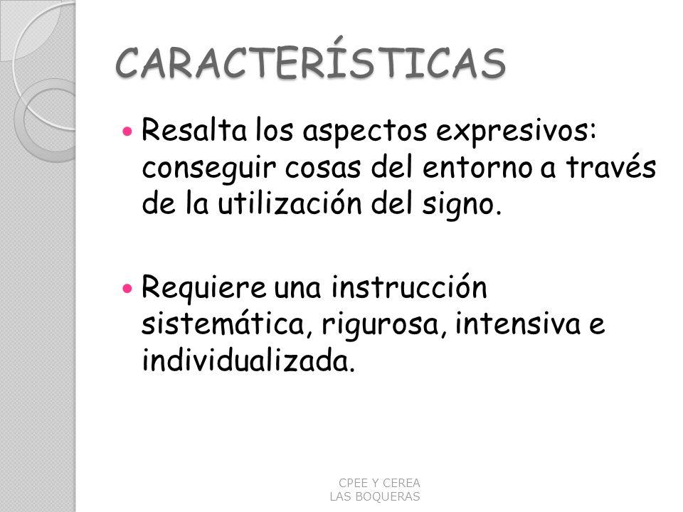 CARACTERÍSTICAS Resalta los aspectos expresivos: conseguir cosas del entorno a través de la utilización del signo.