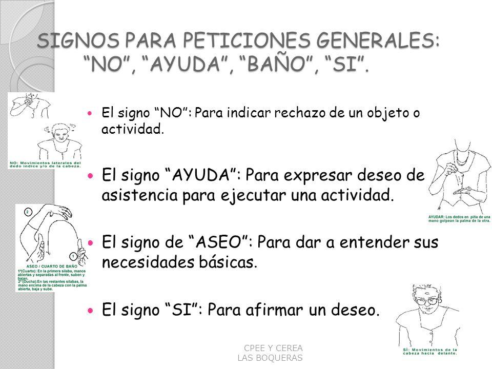 SIGNOS PARA PETICIONES GENERALES: NO , AYUDA , BAÑO , SI .