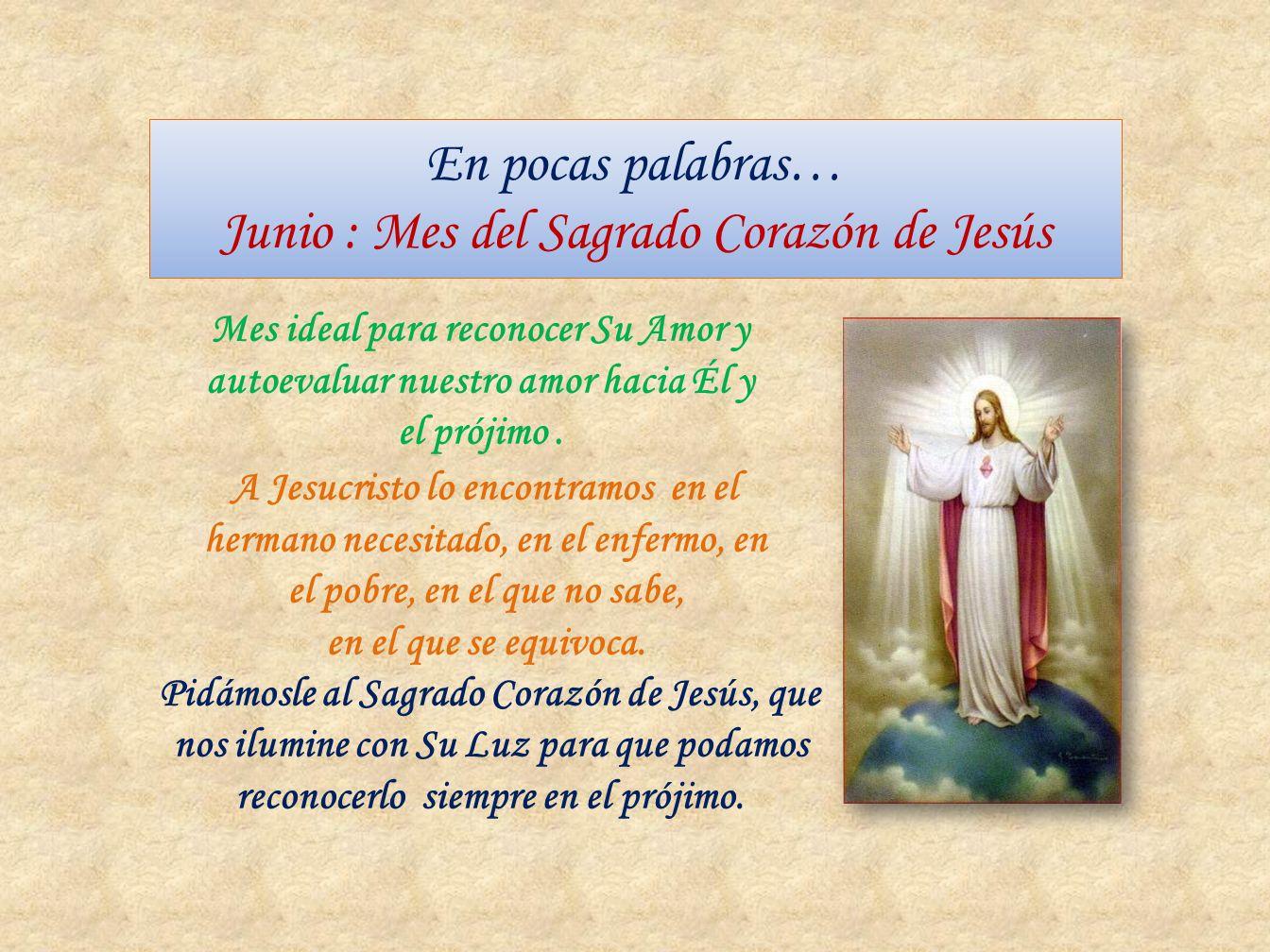 En pocas palabras… Junio : Mes del Sagrado Corazón de Jesús