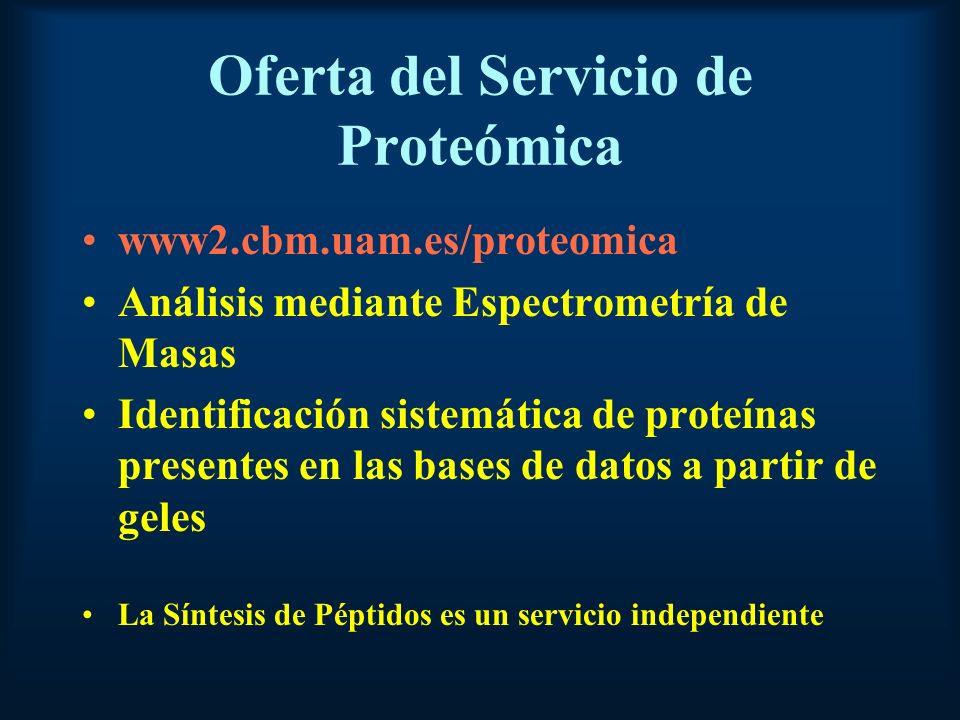 Oferta del Servicio de Proteómica