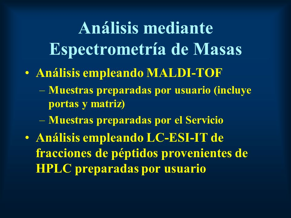 Análisis mediante Espectrometría de Masas